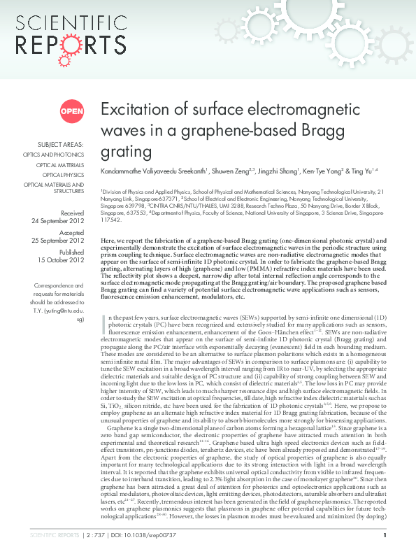 PDF) Excitation of surface electromagnetic waves in a