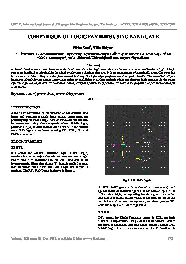 PDF) COMPARISON OF LOGIC FAMILIES USING NAND GATE | Editor