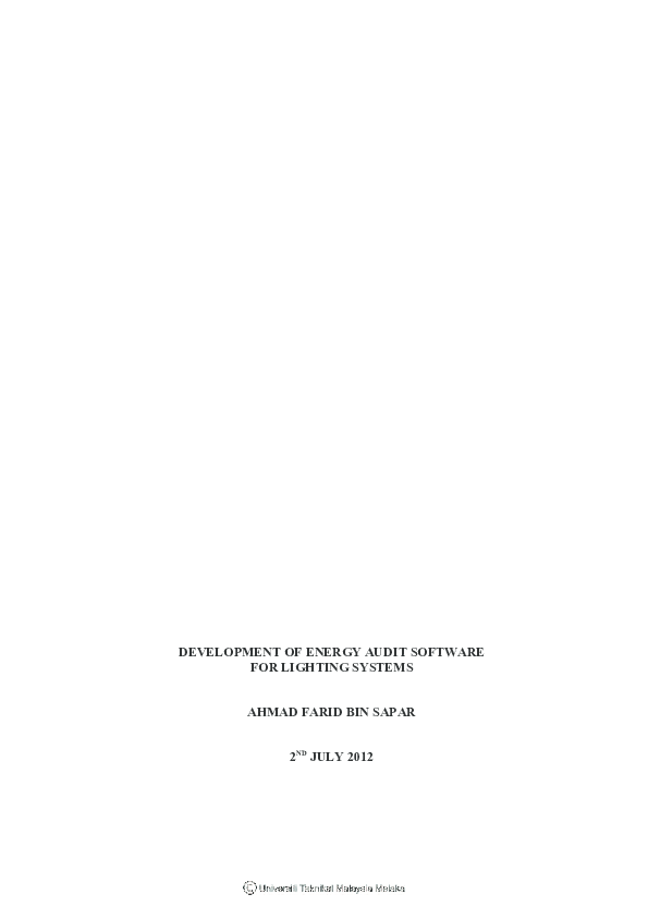 PDF) Development of Energy Audit Software For Lighting