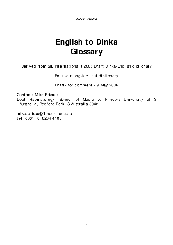 PDF) English Dinka Dictionary | Roger Blench - Academia edu