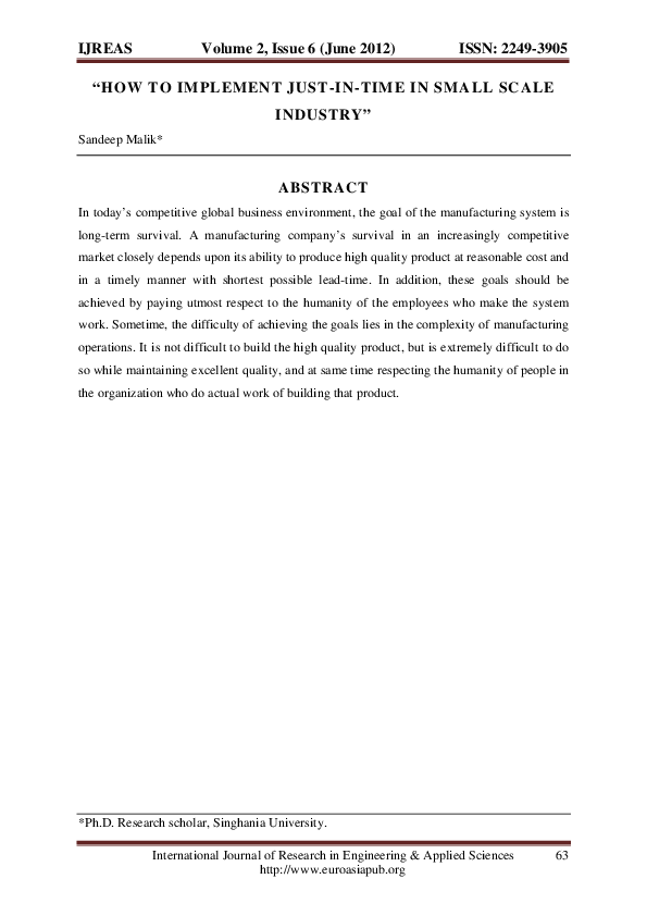 Jit in Service Industry - Research Paper