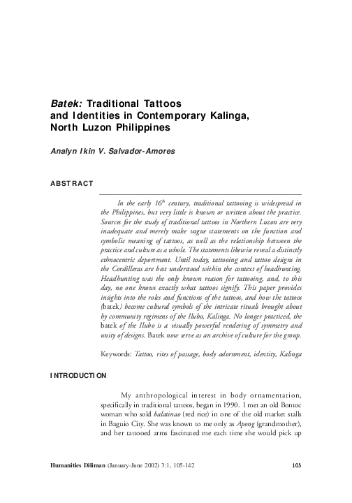 Pdf Batek Traditional Tattoos And Identities In Contemporary