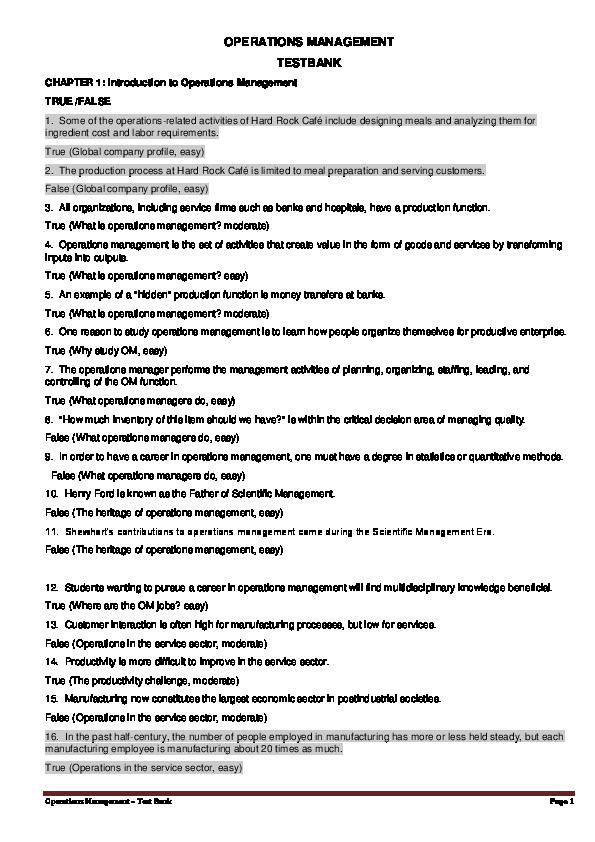 PDF) Operations Management – Test Bank | No Me - Academia edu