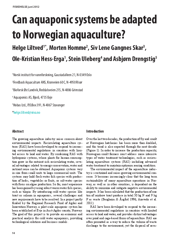 PDF) Can aquaponic systems be adapted to Norwegian