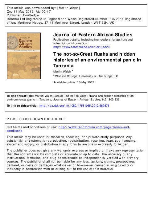 PDF) The not-so-Great Ruaha and hidden histories of an