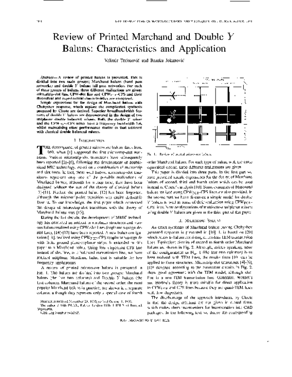 PDF) Review of Printed Marchand and Double Y Baluns