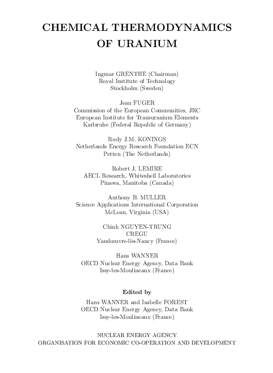 (PDF) CHEMICAL THERMODYNAMICS OF URANIUM (Federal Republic