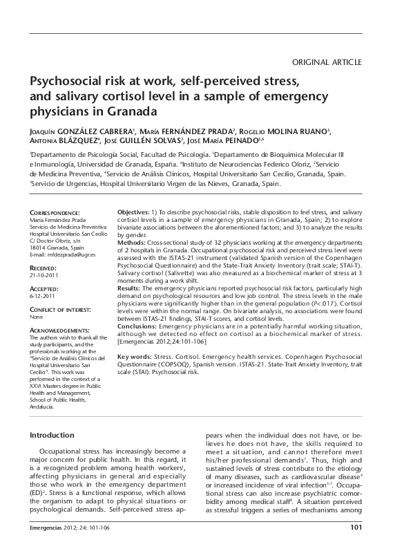 PDF) Psychosocial risk at work, self-perceived stress,and