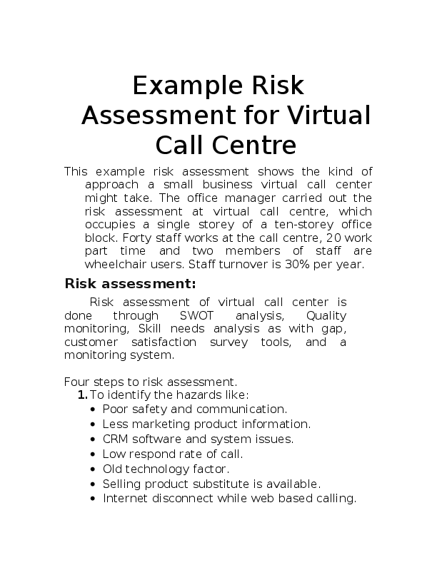 Example Risk Assessment For Virtual Call Centre Shakeel Ahmed