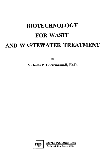 PDF) BIOTECHNOLOGY FOR WASTE AND WASTEWATER TREATMENT | Adel
