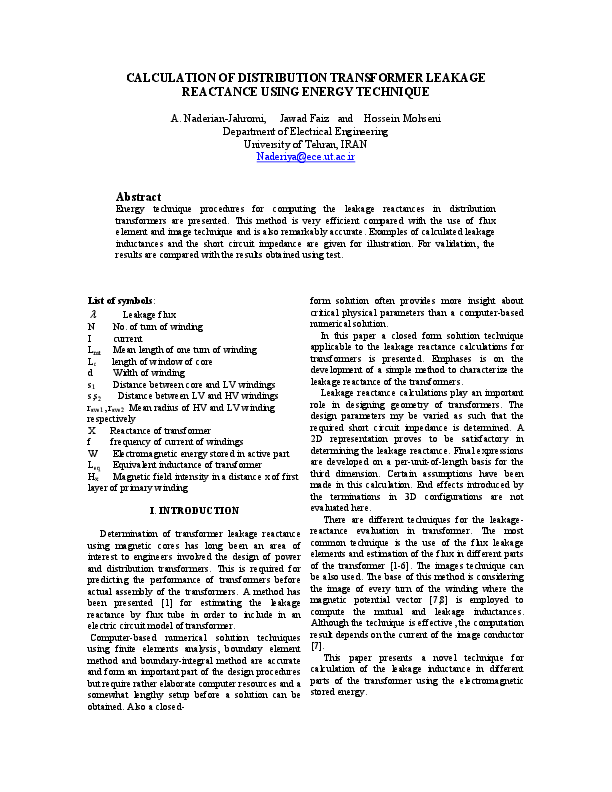 PDF) CALCULATION OF DISTRIBUTION TRANSFORMER LEAKAGE