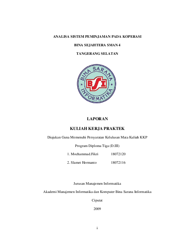 Pdf I Analisa Sistem Peminjaman Pada Koperasi Bina Sejahtera Sman 4 Tangerang Selatan Laporan Kuliah Kerja Praktek Supriyanto Supriyanto Academia Edu
