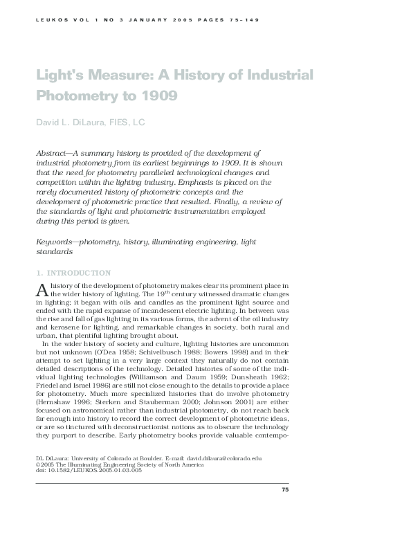 PDF) Light's Measure: A History of Industrial Photometry to