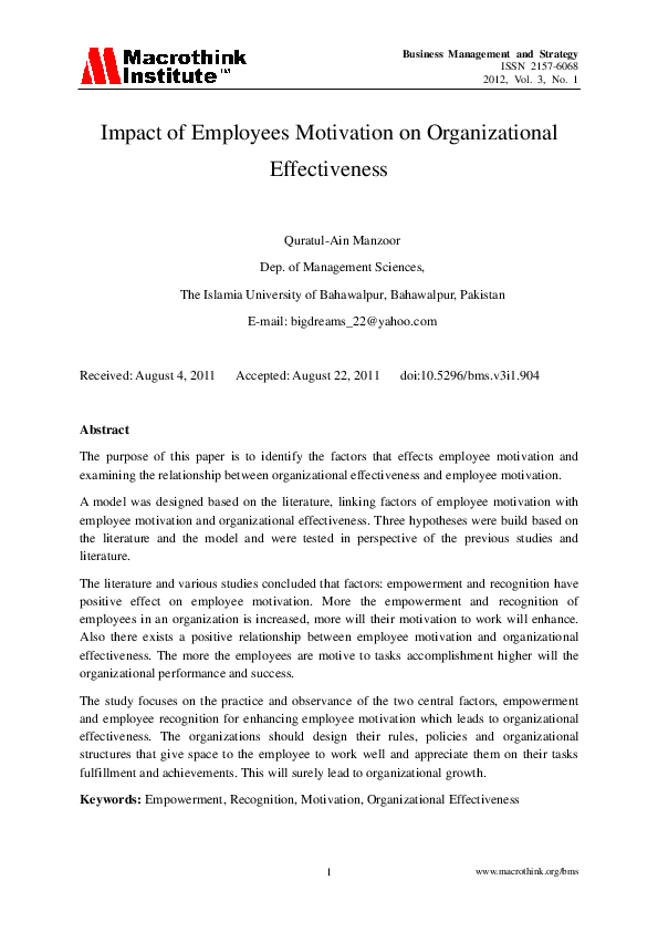 research papers on employee motivation and organizational performance