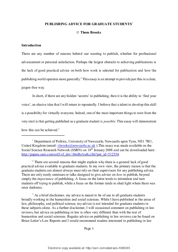 PDF) Publishing Advice for Graduate Students | Thom Brooks