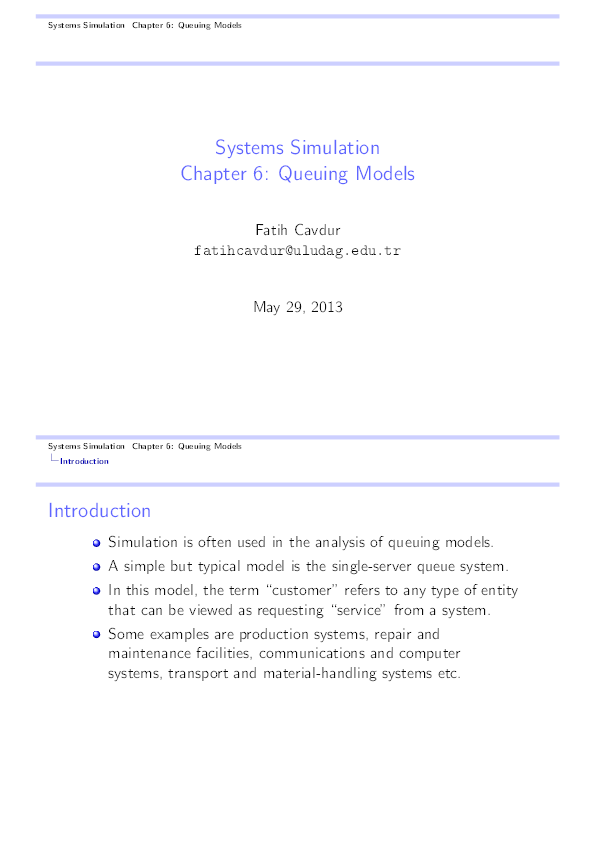 PDF) Systems Simulation Chapter 6: Queuing Models Systems Simulation