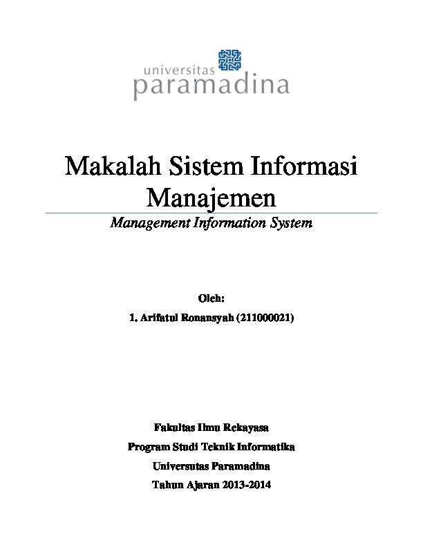 Pdf Makalah Sistem Informasi Manajemen Management Information System Arifatul Ronansyah Academia Edu