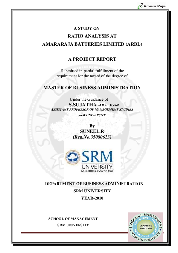 PDF) A STUDY ON RATIO ANALYSIS AT AMARARAJA BATTERIES