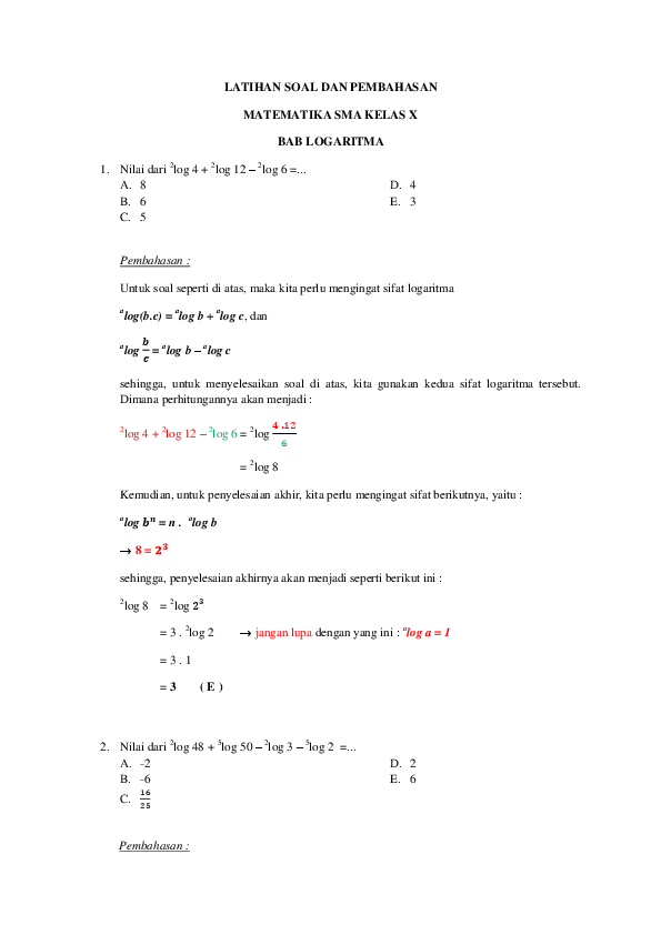 Pdf Latihan Soal Dan Pembahasan Matematika Sma Kelas X Adax Adax28 Academia Edu