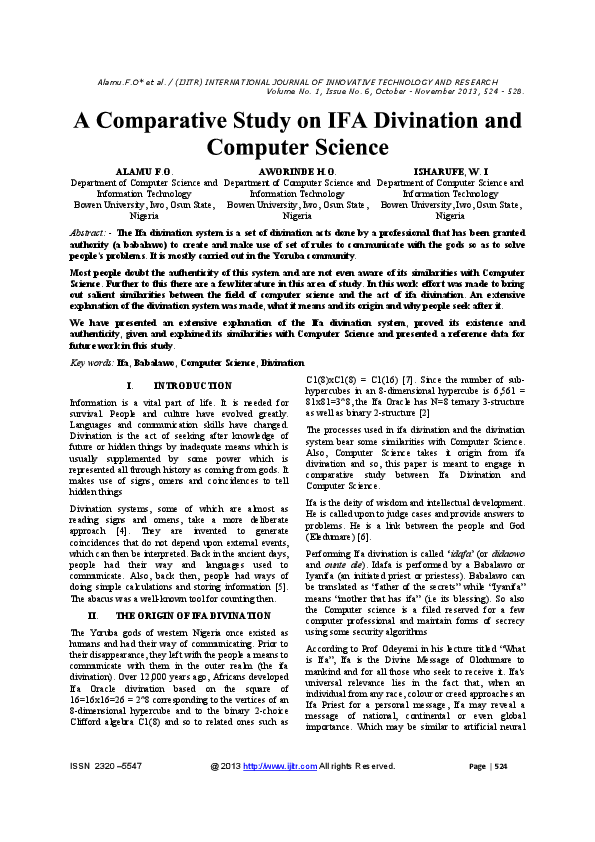 PDF) A Comparative Study of Ifa Divination and Computer