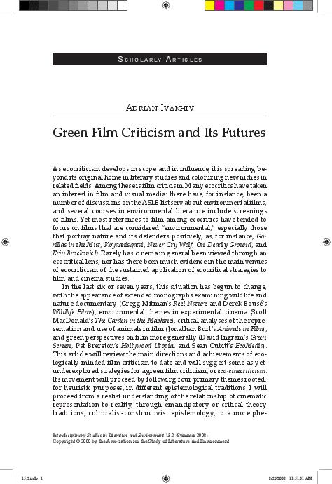 Pdf Green Film Criticism And Its Futures Adrian Ivakhiv Academia Edu