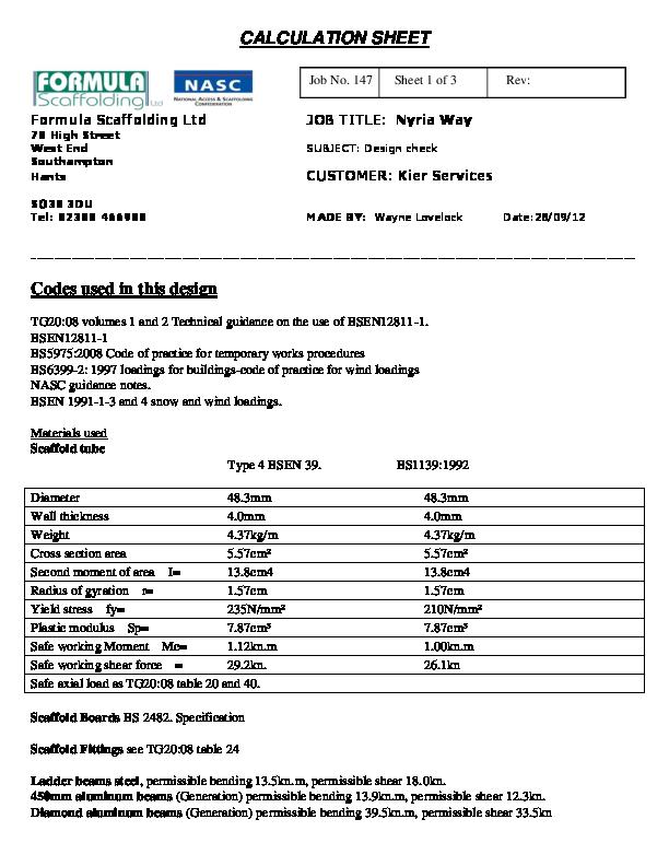 PDF) CALCULATION SHEET Formula Scaffolding Ltd JOB TITLE: Nyria Way