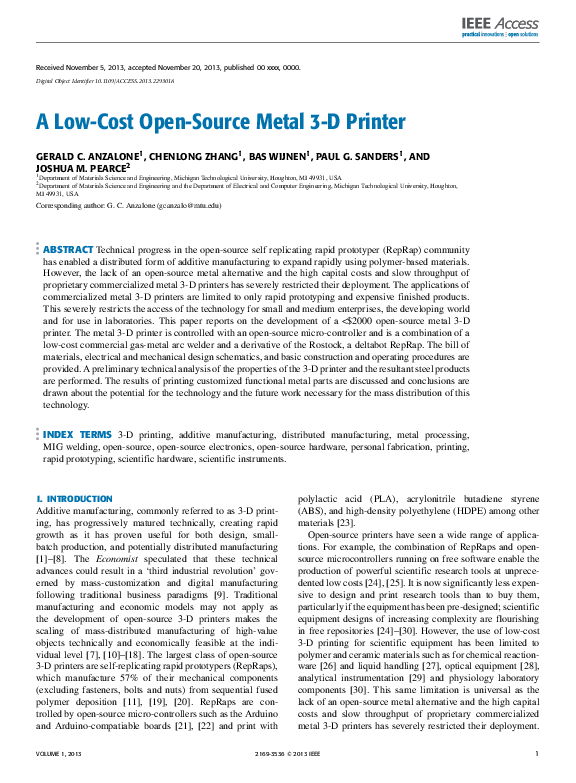 PDF) A Low-Cost Open-Source Metal 3-D Printer | Joshua Pearce