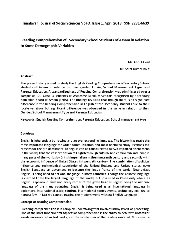 PDF) Reading Comprehension of Secondary School Students | Abdul Awal