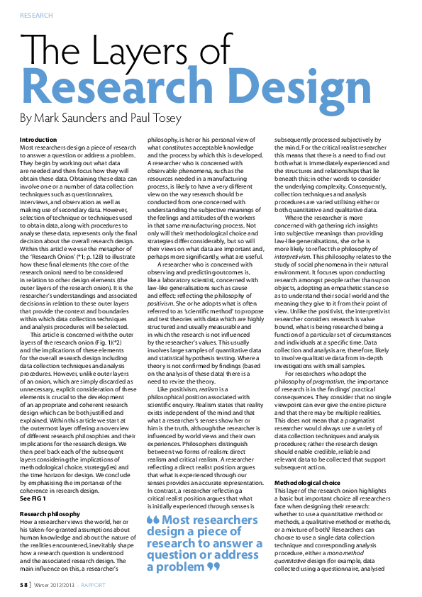 PDF) The Layers of Research Design | Mark N K Saunders
