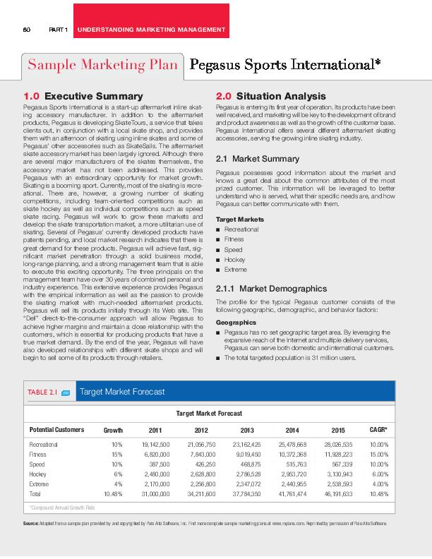PDF) Sample Marketing Plan Pegasus Sports International
