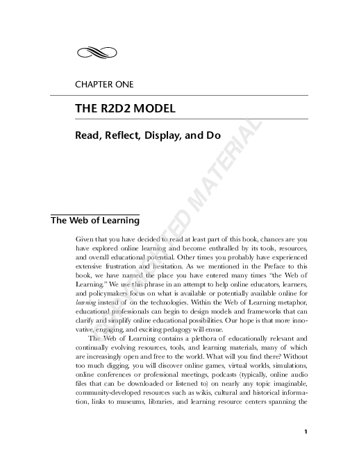 Pdf Bonk C J Zhang K 2008 Chapter 1 The R2d2 Model Read Reflect Display And Do Pages 1 14 Empowering Online Learning 100 Activities For Reading Reflecting Displaying And Doing San