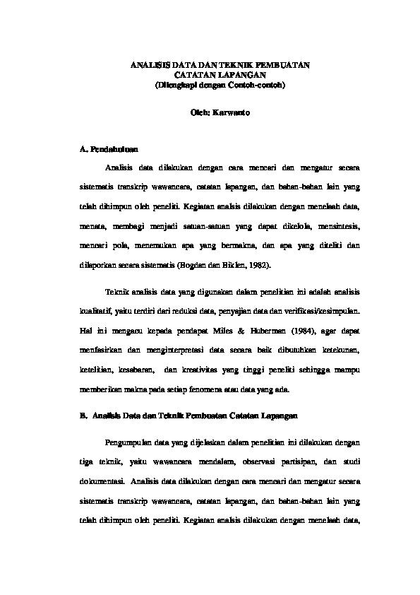 Pdf Analisis Data Dan Teknik Pembuatan Catatan Lapangan Dilengkapi Dengan Contoh Contoh Oleh Karwanto Imroatul Azizah Academia Edu