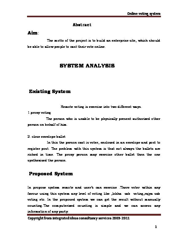 DOC) Online voting System Analaysis | Getahun Derebe - Academia edu
