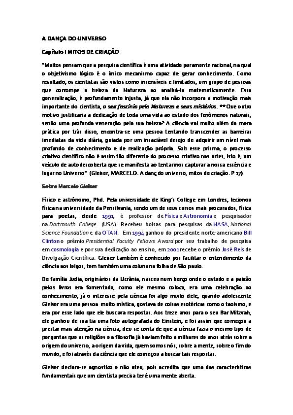 ea7e537d44 DOC) A DANÇA DO UNIVERSO Capítulo I MITOS DE