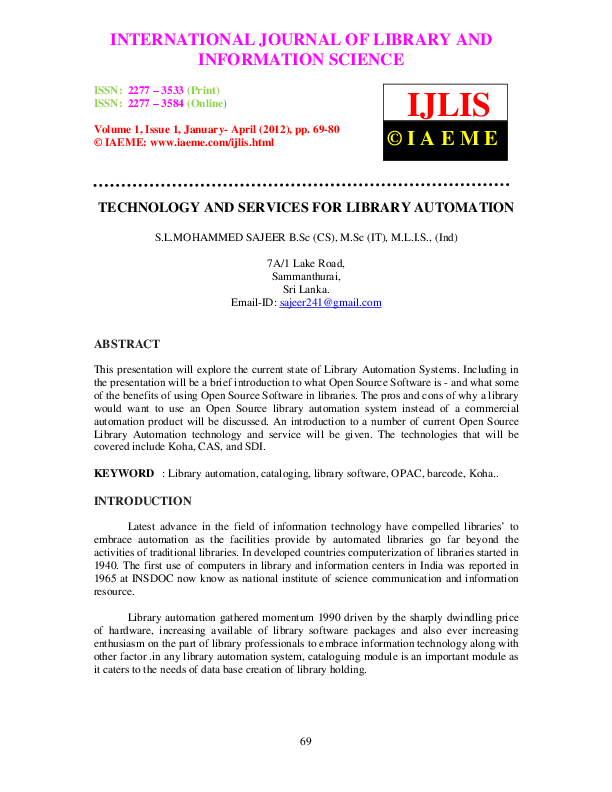 PDF) TECHNOLOGY AND SERVICES FOR LIBRARY AUTOMATION | iaeme