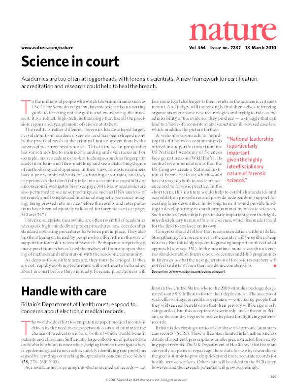 PDF) Science in court | Peter Jackson - Academia edu