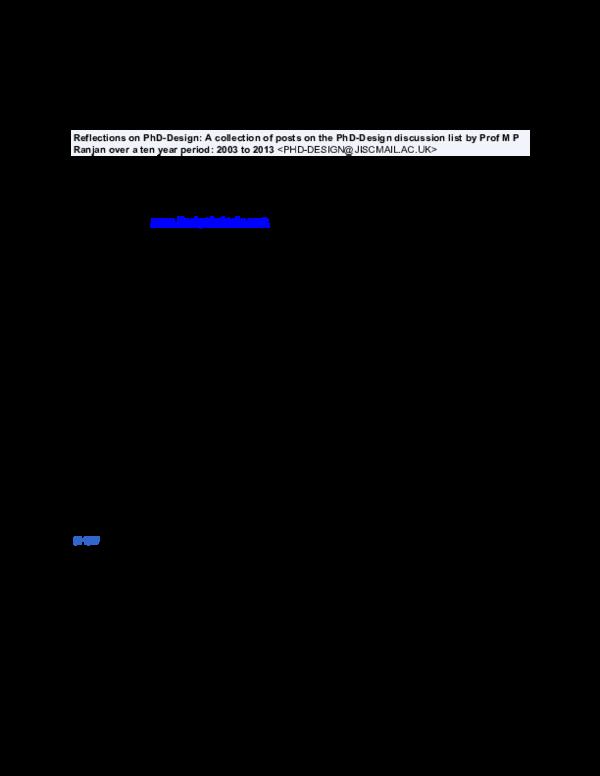 PDF) MP Ranjan on PhD-Design_Mstr_2003 Sept to 2013 May   Ranjan MP