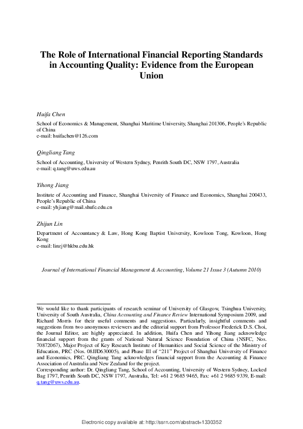 pdf the role of international financial reporting standards in accounting quality evidence from the european union the role of international financial reporting standards in accounting quality evidence from the european union the role of international financial