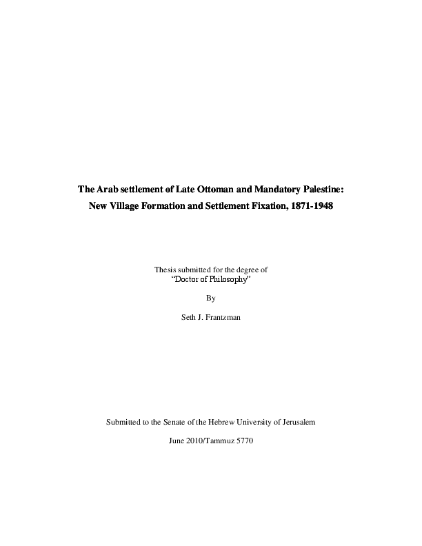 The Arab Settlement Of Late Ottoman And Mandatory Palestine New