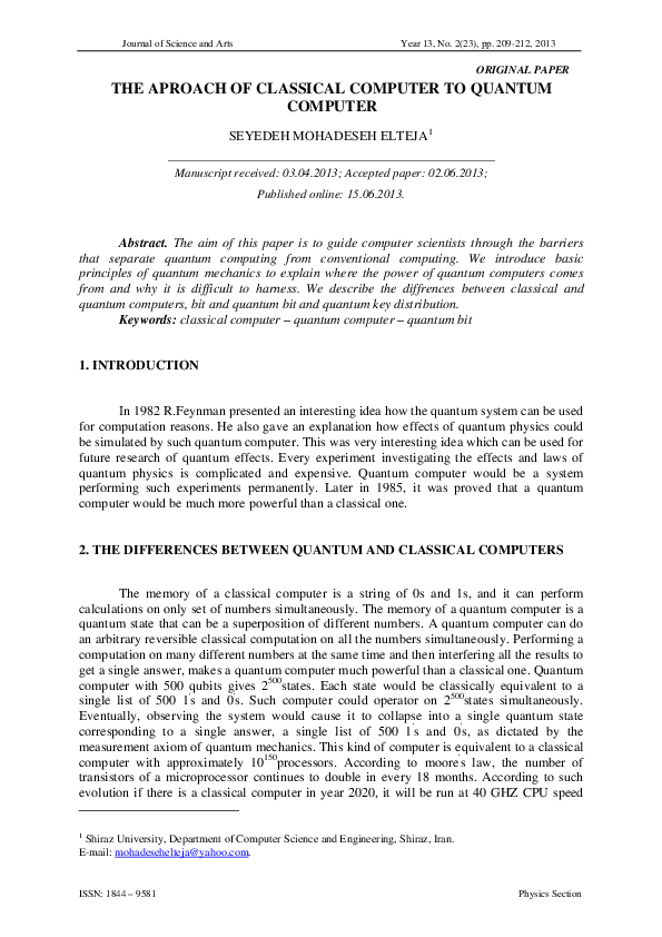 PDF) THE APROACH OF CLASSICAL COMPUTER TO QUANTUM COMPUTER
