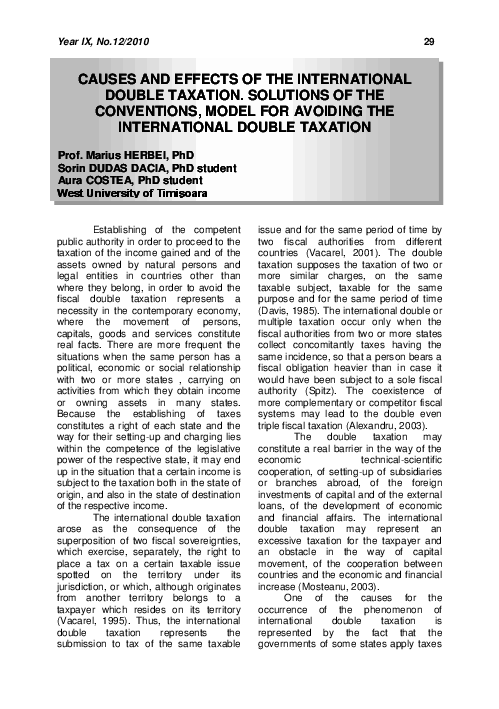 Causes And Effects Of The International Double Taxation Solutions