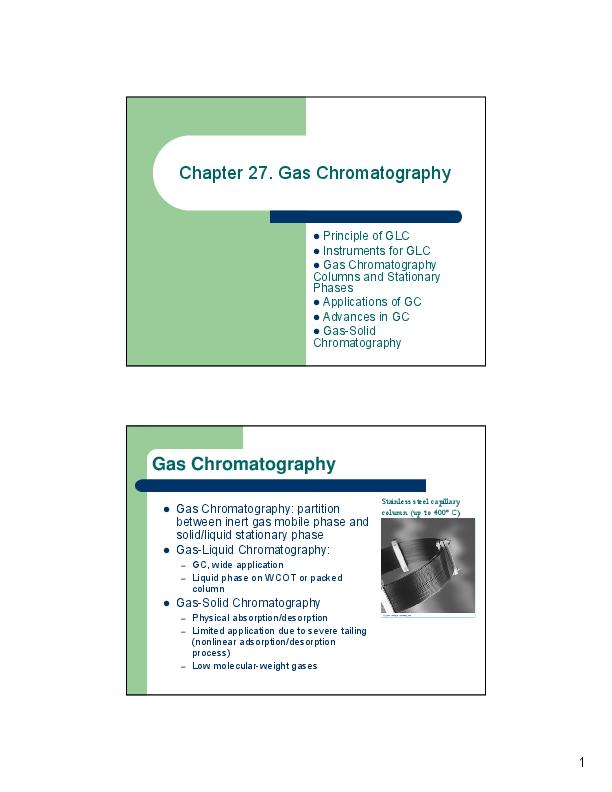PDF) Chapter 27  Gas Chromatography z Principle of GLC z