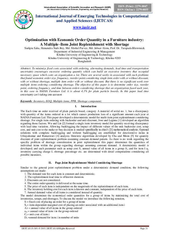 Economic Order Quantity Free Essay Example