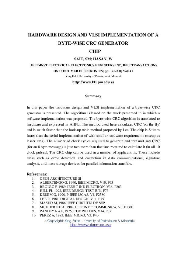 PDF) Hardware design and VLSI implementation of a byte-wise
