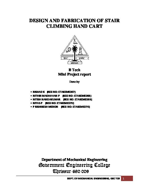 DOC) MINI PROJECT- STAIR CLIMBING HAND CART | Nitish Nandakumar
