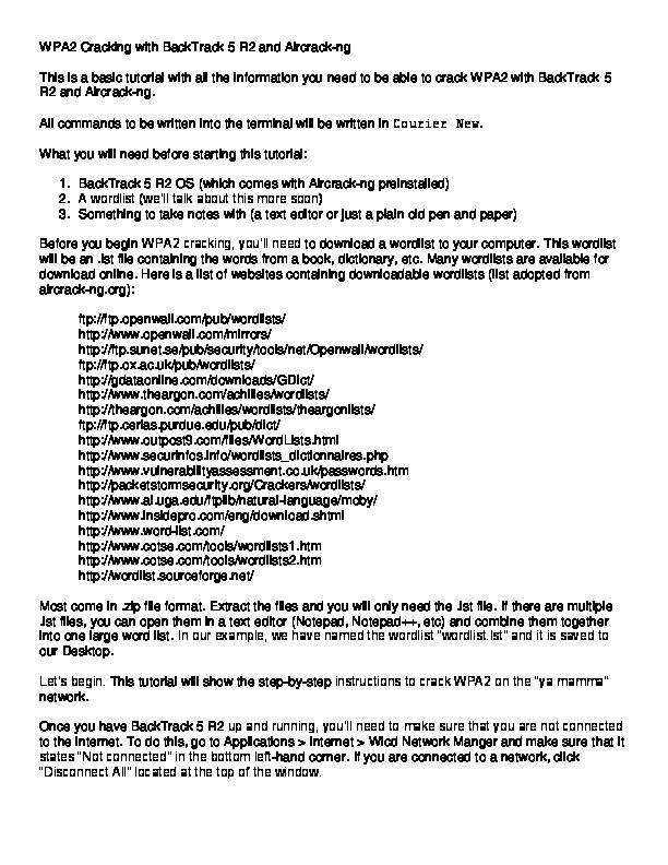 WORDLIST WPA/WPA2 5 R3 BACKTRACK TÉLÉCHARGER