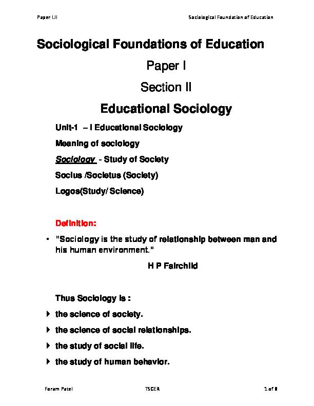 PDF) Paper I II Sociological Foundation of Education