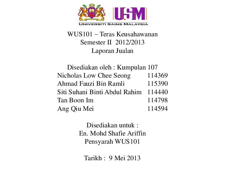 Ppt Laporan Jualan Siti Suhani Abdul Rahim Academia Edu