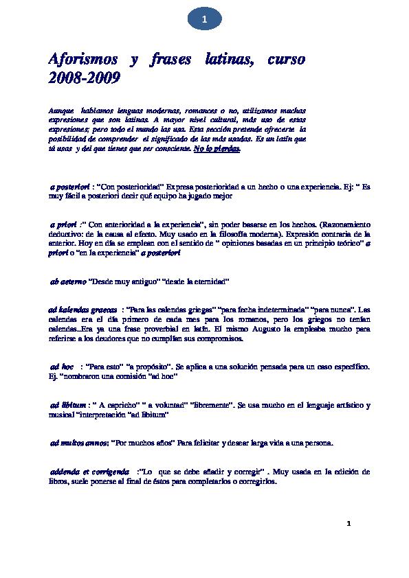 Pdf Aforismos Y Frases Latinas Pep Campillo Academiaedu