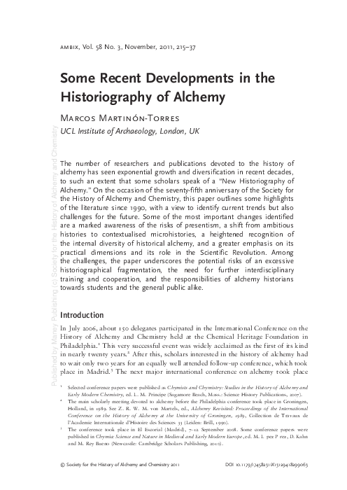 Some Recent Developments In The Historiography Of Alchemy Marcos